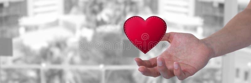 öppna handen och hjärta vid staden royaltyfri illustrationer