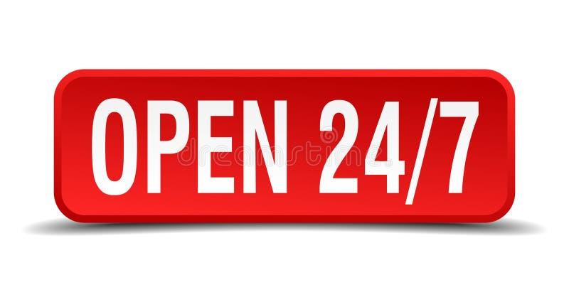 Öppna 24 knapp för röd fyrkant som 7 isoleras på vit royaltyfri illustrationer