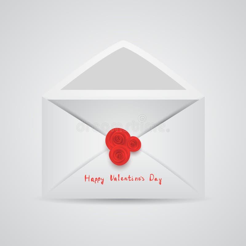 Öppna kuvertet med den röda rosen vektor illustrationer