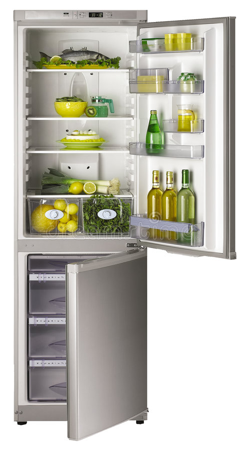 öppna kylskåp arkivbilder