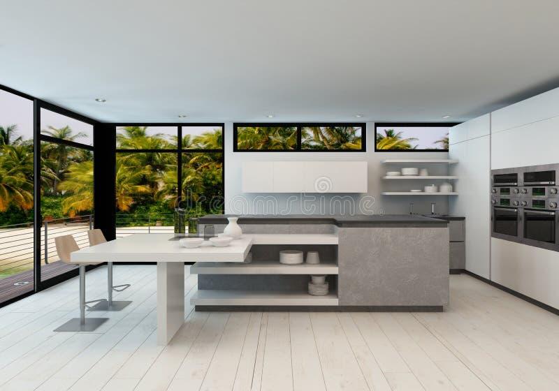 Öppna modernt kök för planet i en tropisk villa vektor illustrationer