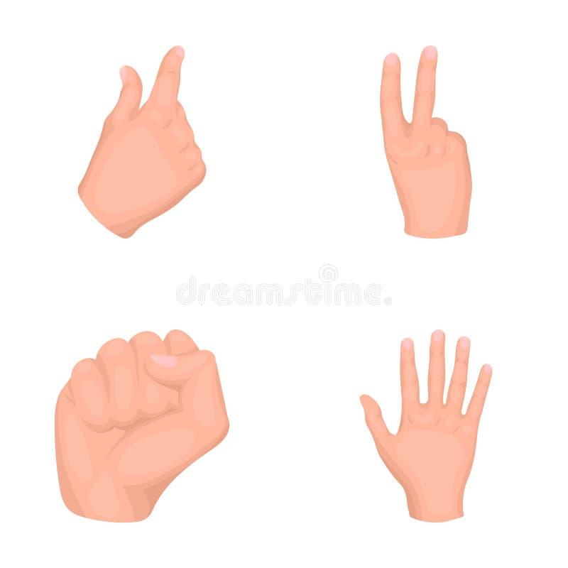 Öppna näven, segern, gnidare Symboler för samling för uppsättning för handgest i symbol för tecknad filmstilvektor lagerför illus stock illustrationer