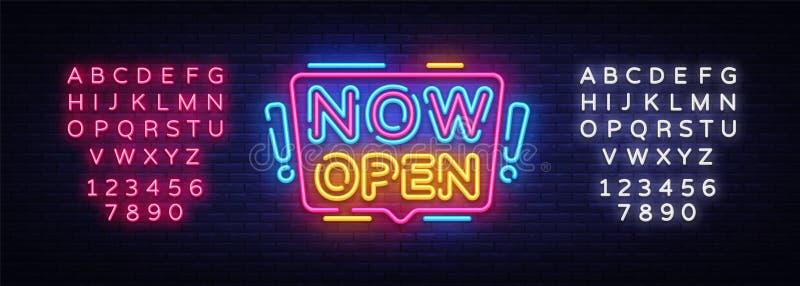 Öppna nu vektorn för neontecken Öppna nu tecknet för designmallneon, det ljusa banret, neonskylten, nightly ljus advertizing stock illustrationer