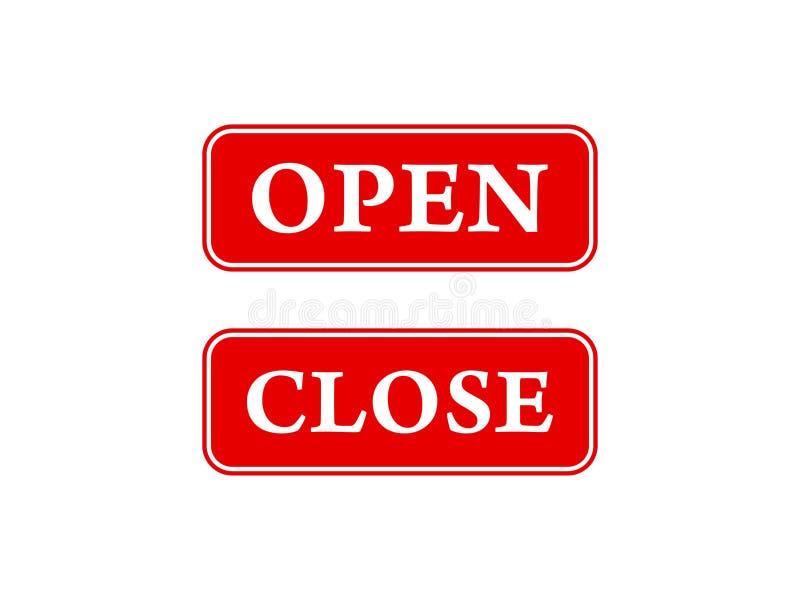 Öppna och nära symboler för dörrar, shoppar fönster, arbetsplatser och mer vektor illustrationer