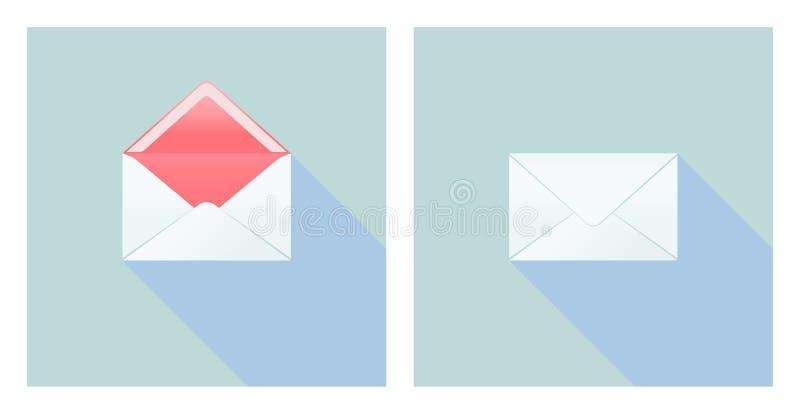 Öppna och stäng tecknet med kuvertet royaltyfri illustrationer