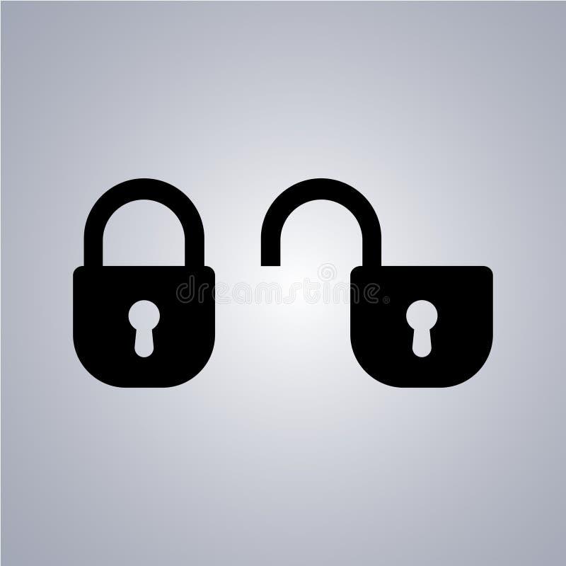 Öppna och stängda symboler för låstangent på en grå bakgrund stock illustrationer