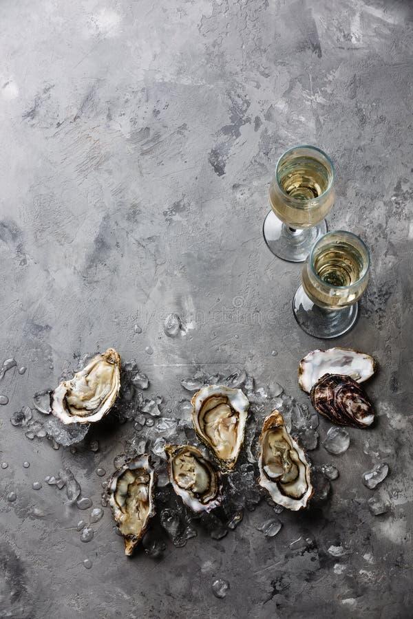 Öppna ostron och champagne royaltyfria bilder