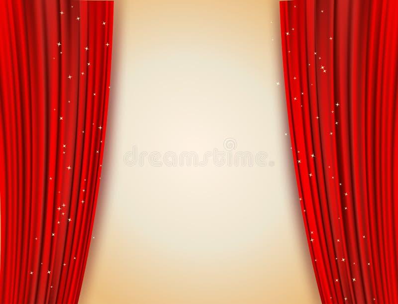 Öppna röda gardiner med att blänka stjärnabakgrund stock illustrationer
