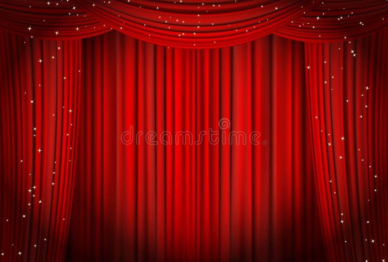Öppna röda gardiner med blänker opera- eller teaterbakgrund stock illustrationer