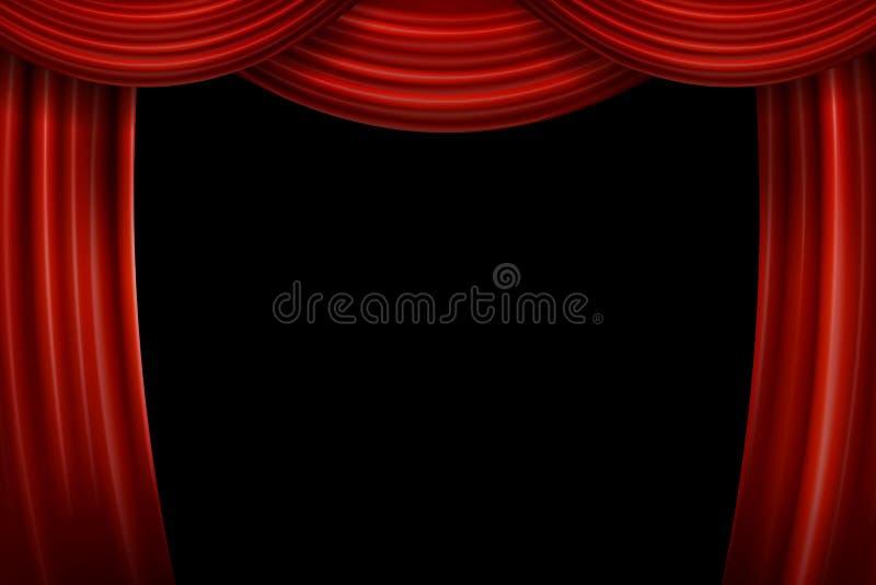 Öppna röda sammetfilmgardiner med den svarta skärmen vektor illustrationer