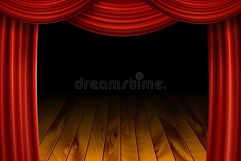 Öppna röda sammetfilmgardiner med den svarta skärmen stock illustrationer
