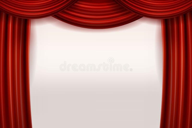 Öppna röda sammetfilmgardiner med den vita skärmen vektor illustrationer