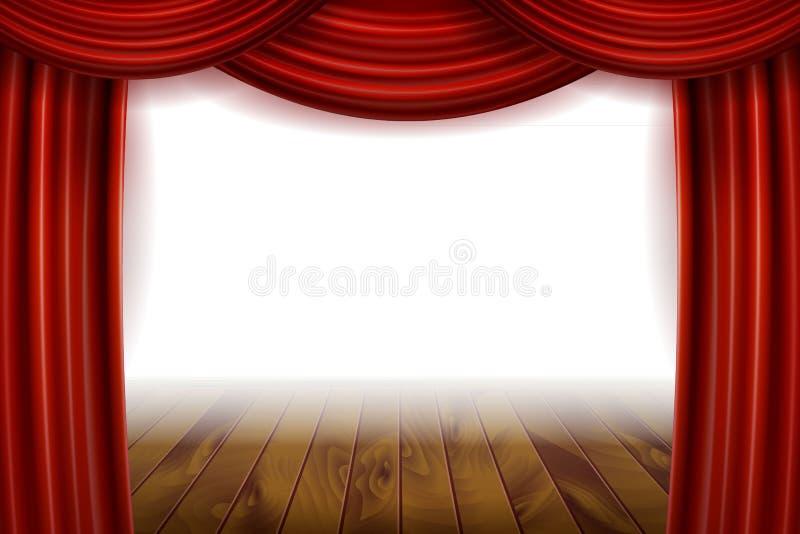 Öppna röda sammetfilmgardiner med den vita skärmen stock illustrationer