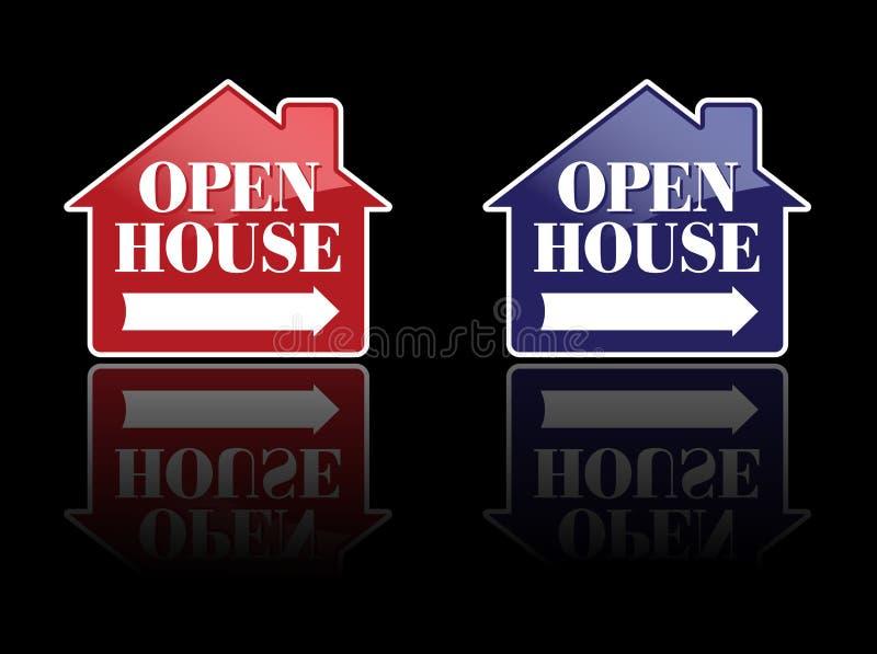 öppna röda tecken för blått hus royaltyfri illustrationer