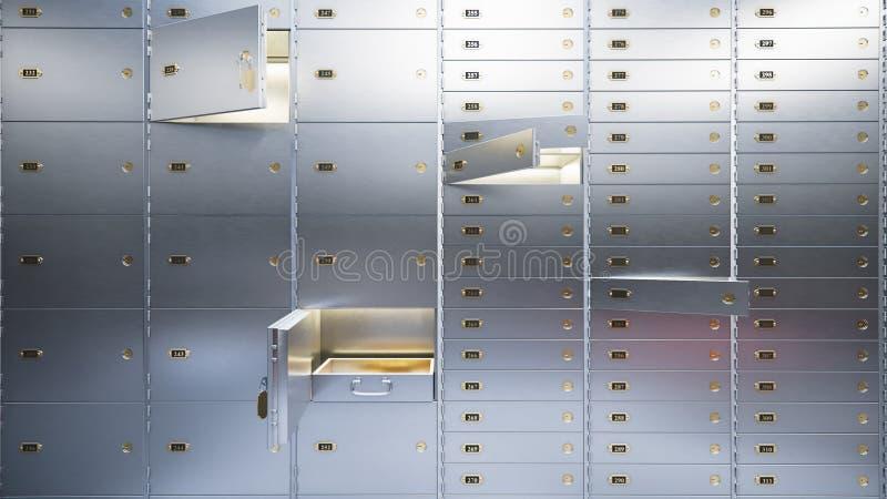 Öppna säkra dörrar 3d för banken royaltyfri illustrationer