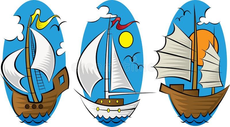 öppna ships för 1 hav vektor illustrationer