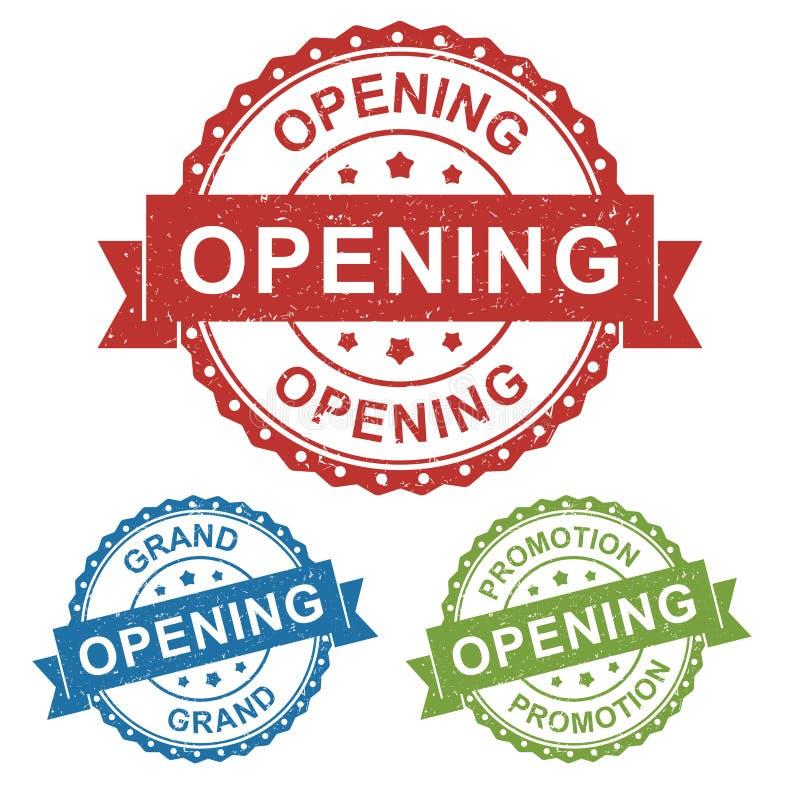 Öppna shoppar den storslagna öppningen, etiketten för stämpeln för vektoremblemetiketten för produkten, marknadsföringen som dire royaltyfri illustrationer