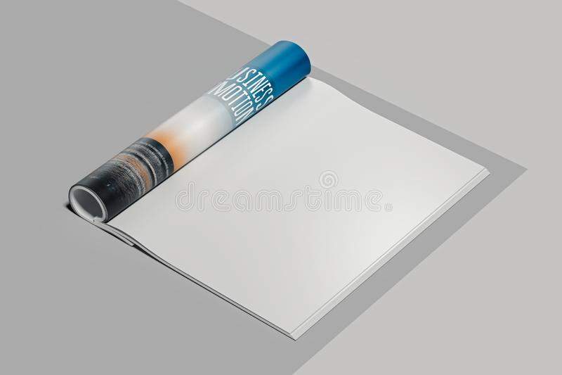 öppna sidor för blank tidskrift Töm utrymme framförande 3d stock illustrationer