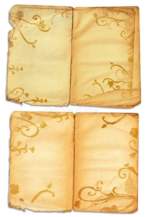 öppna sidor för bokgrunge stock illustrationer