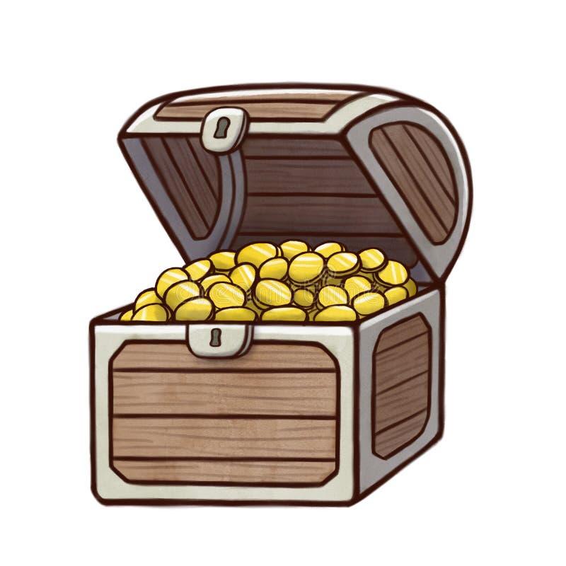 Öppna skattbröstkorgen som fylls med guld- mynt vektor illustrationer