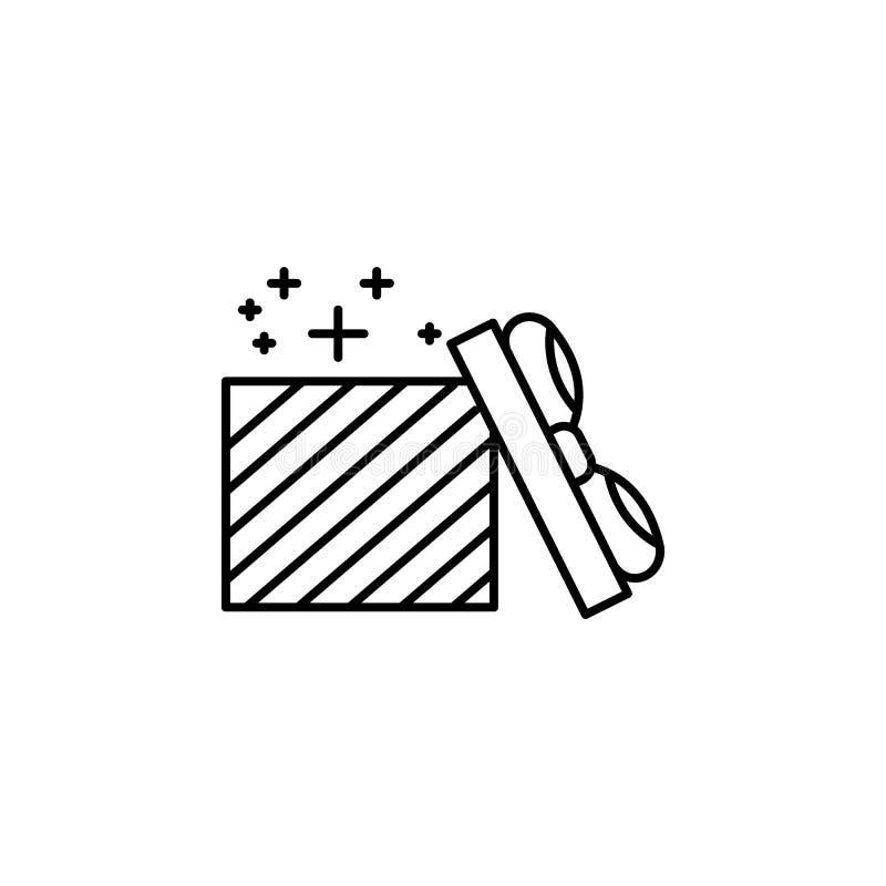 ÖPPNA symbolen för GÅVAASKEN Beståndsdel av den oarty översiktssymbolen för nytt år Tunn linje symbol för websitedesignen och utv stock illustrationer