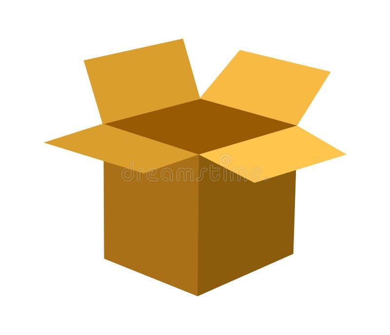 Öppna symbolsasken för den pappers- asken öppnar ut, vit bakgrund, illustration-vektor royaltyfri foto