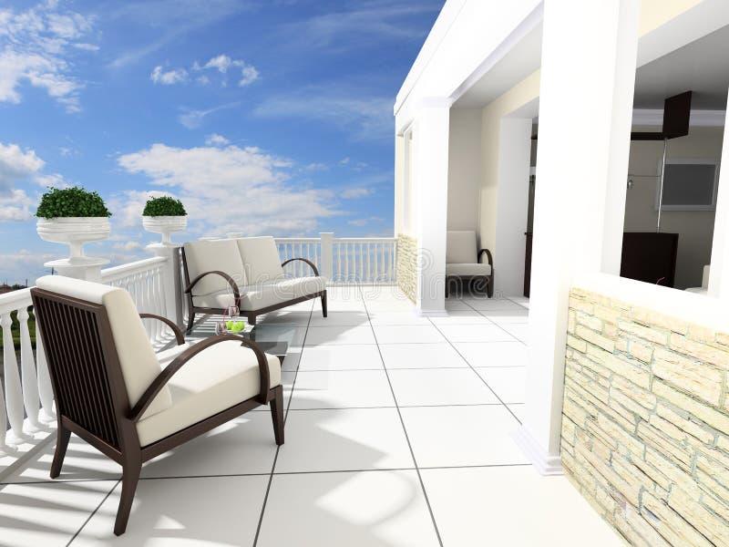 öppna terrassen royaltyfri illustrationer