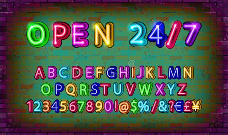 Öppna 24 timmar neonstilsort royaltyfri illustrationer