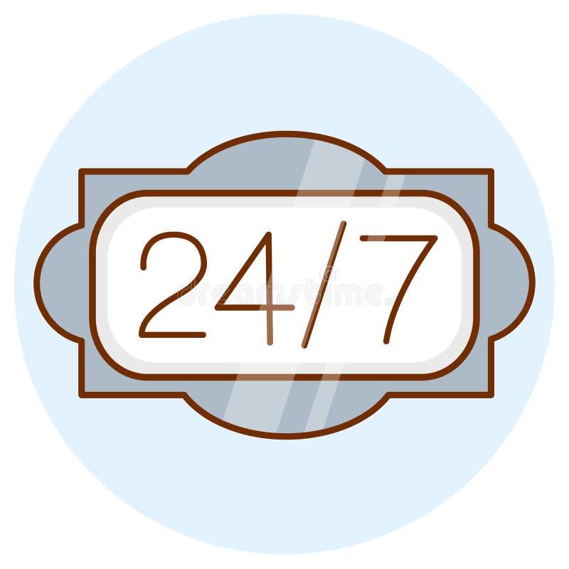 Öppna 24 timmar om dagen, 7 dagar en veckasymbol Direktanslutet dygnet runt tecken Kulör plan linje design stock illustrationer