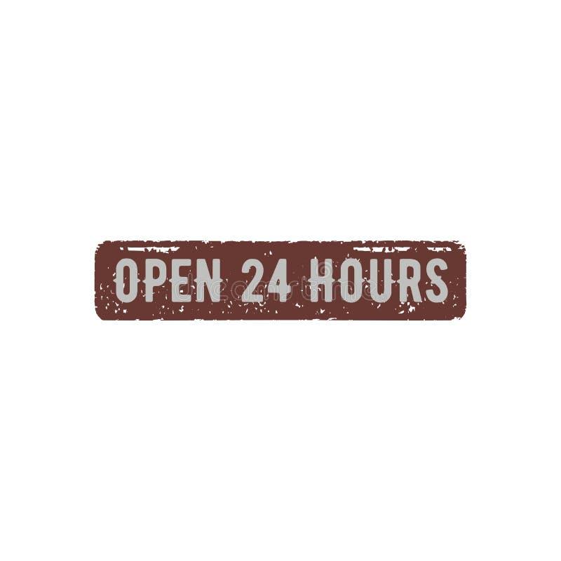 Öppna 24 timmar retro tecken Materielvektorillustration som isoleras på vit bakgrund stock illustrationer
