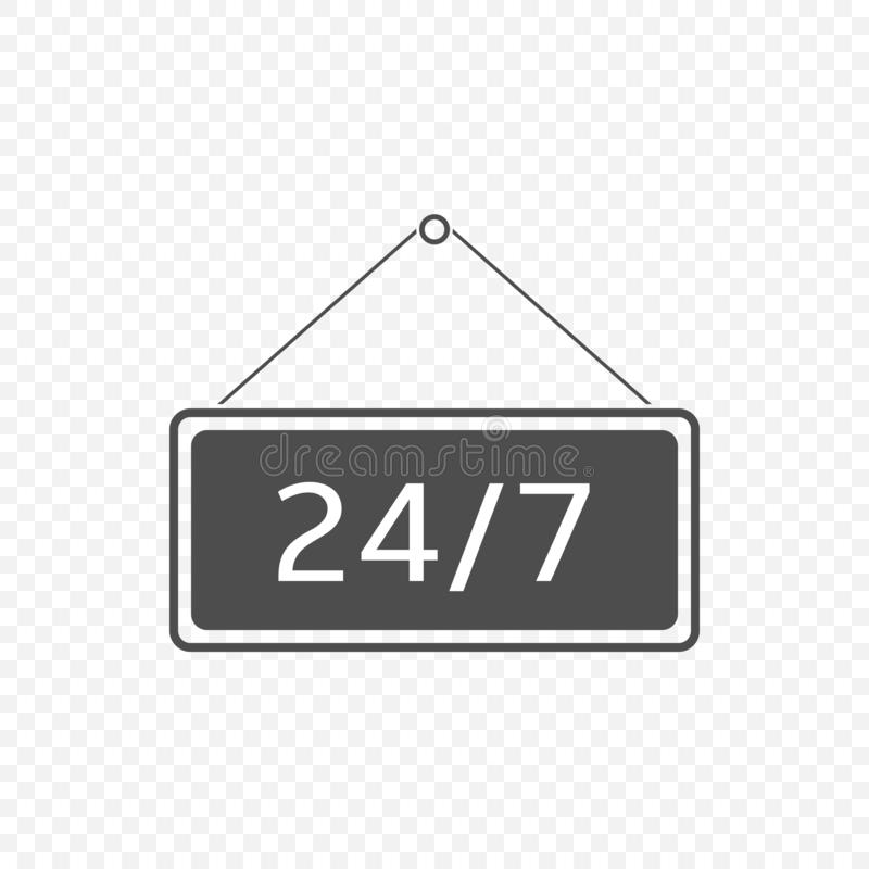 Öppna 24 timmar som hänger tecknet vektor illustrationer