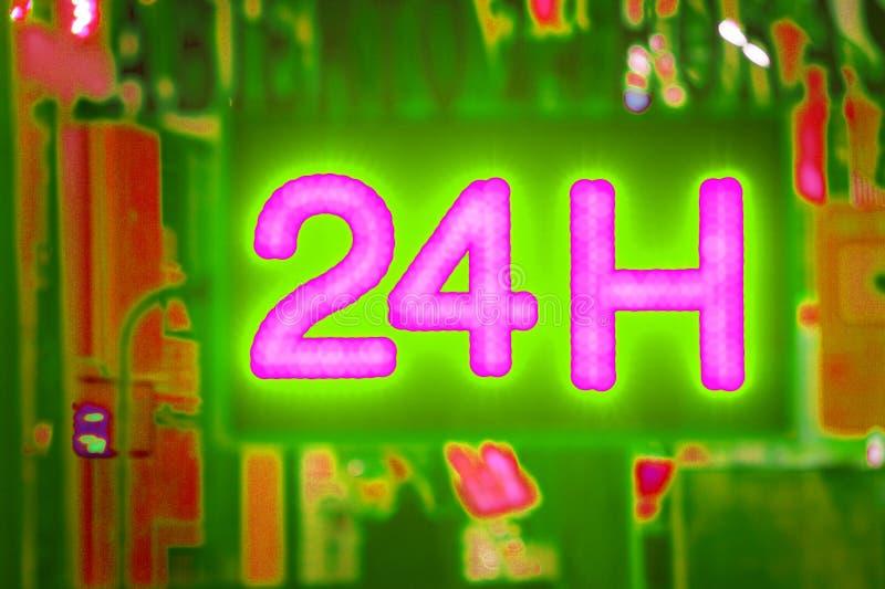 Öppna 24 timme, marknaden, apotek, hotellet, bensinstationen, bensinstation arkivbild