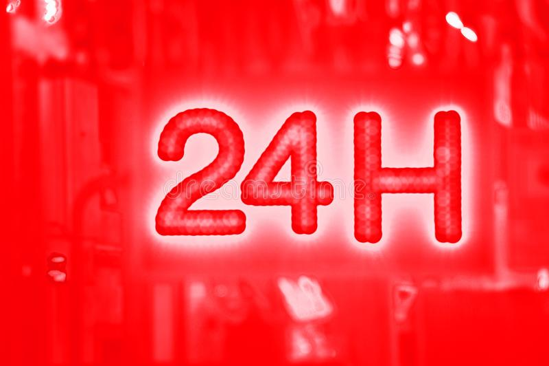 Öppna 24 timme, marknaden, apotek, hotellet, bensinstationen, bensinstation arkivfoton