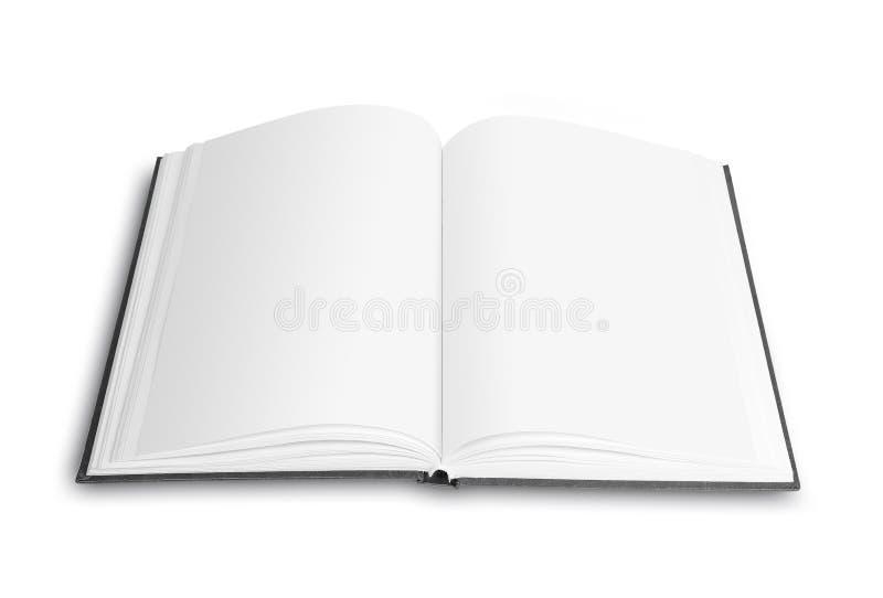 Öppna upp boken, slut bakgrund isolerad white arkivbild