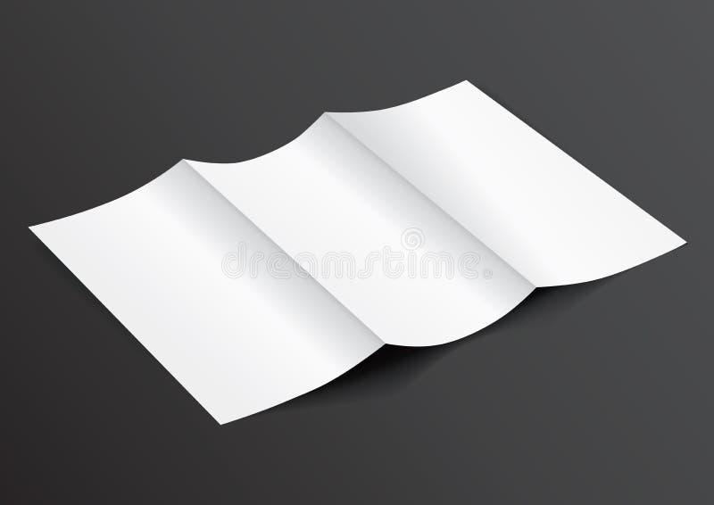 Öppna upp den tomma vikta Trifold DL-reklambladet för vektorn Il för åtlöje - vektor illustrationer