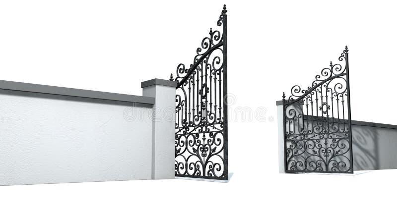 Öppna utsmyckade portar och väggen stock illustrationer