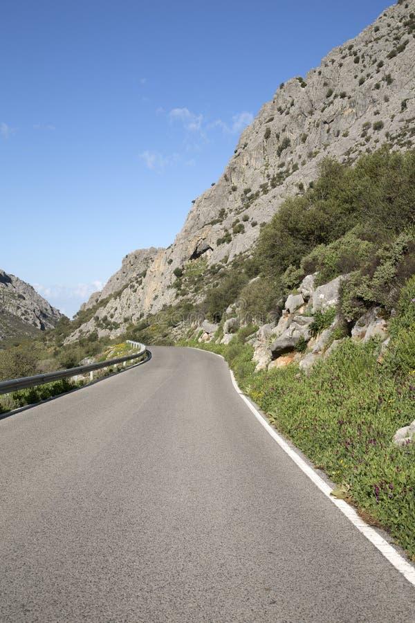 Öppna vägen i den Grazalema nationalparken fotografering för bildbyråer