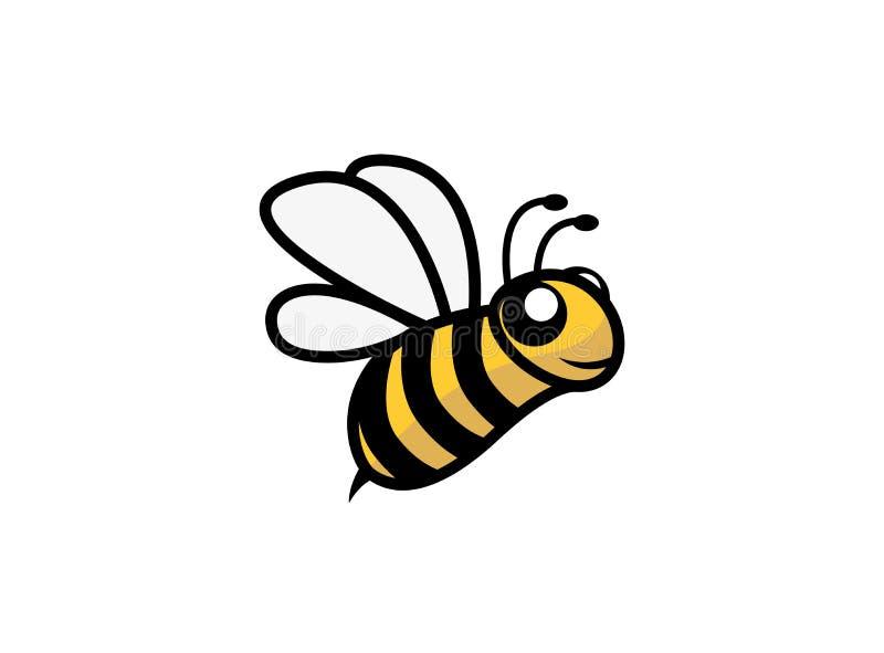 Öppna vingar för lyckligt bi och att flyga för logodesign vektor illustrationer
