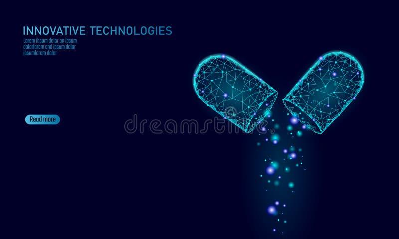 Öppnad affärsidé för drogkapselmedicin Bot för hälsovård för boll för medikament för baner blå glödande prebiotic probiotic stock illustrationer