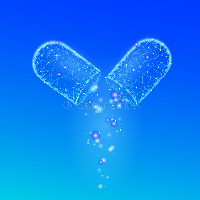 Öppnad affärsidé för drogkapselmedicin Bot för hälsovård för boll för medikament för baner blå glödande prebiotic probiotic royaltyfri illustrationer