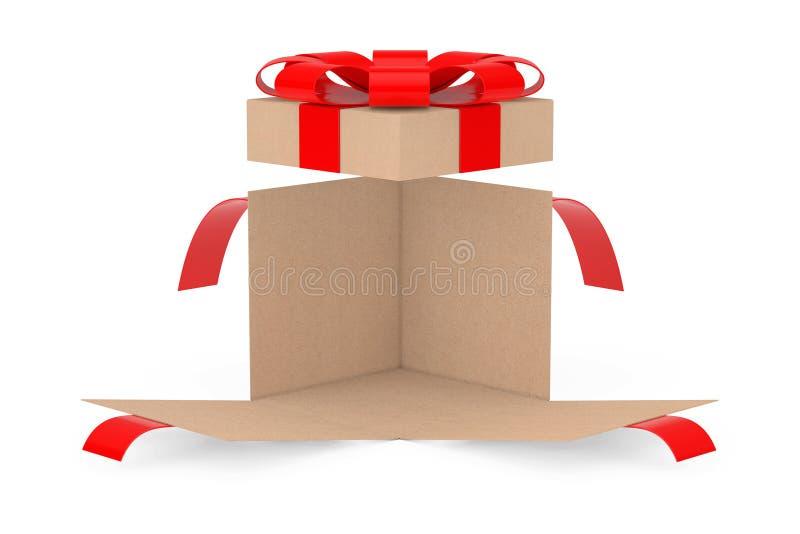 Öppnad ask för överraskningpappgåva med det röda bandet och pilbågen framförande 3d royaltyfri illustrationer