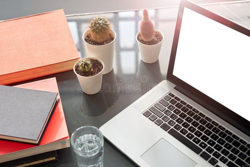 Öppnad bärbar datorskärm, utrymme för designorientering Co-arbete öppet utrymmevind, glanstabell, kaktus och böcker, metallisk in arkivbilder