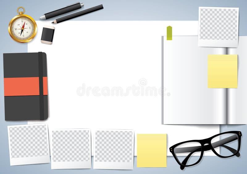 öppnad blank bok Tom bok med blyertspennan fotografering för bildbyråer