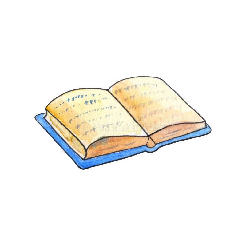 Öppnad bok vid vattenfärgen på vit bakgrund Gammal bok i handdrawn illustration för blåtträkning vektor illustrationer
