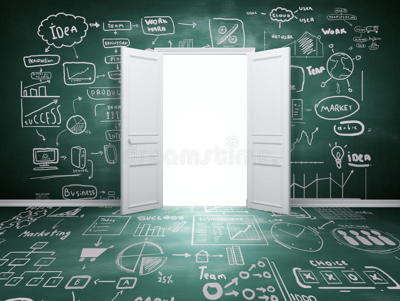 Öppnad dörr vektor illustrationer