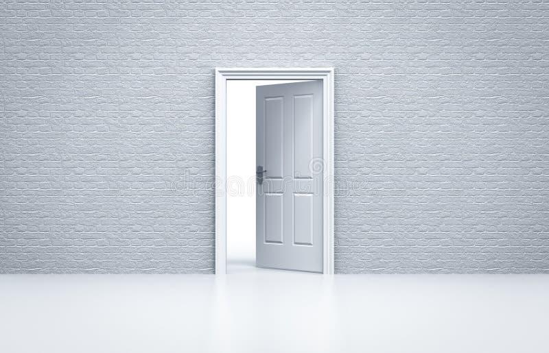 Öppnad dörr med den vita tegelstenväggen vektor illustrationer