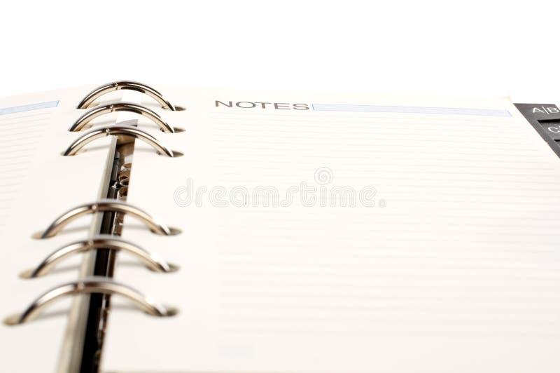öppnad dagordning arkivbild