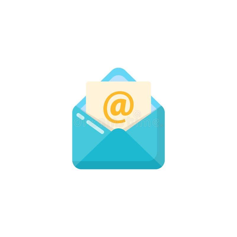 Öppnad design för kuvert- och dokumentsymbolsvektor öppnad postsymbolsdesign vektor illustrationer