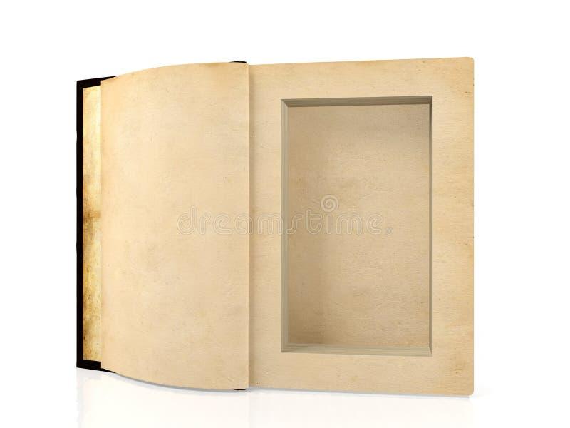 Öppnad forntida pappers- bok med ett hål i en mitt för att dölja något inom arkivbilder