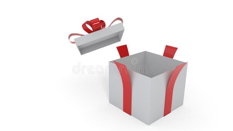 Öppnad gåvapacke på den vita bakgrunden, tolkning 3d royaltyfri illustrationer